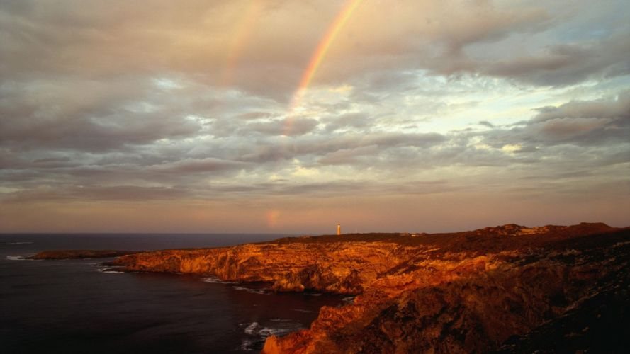 sunset islands rainbows Australia capes National Park wallpaper