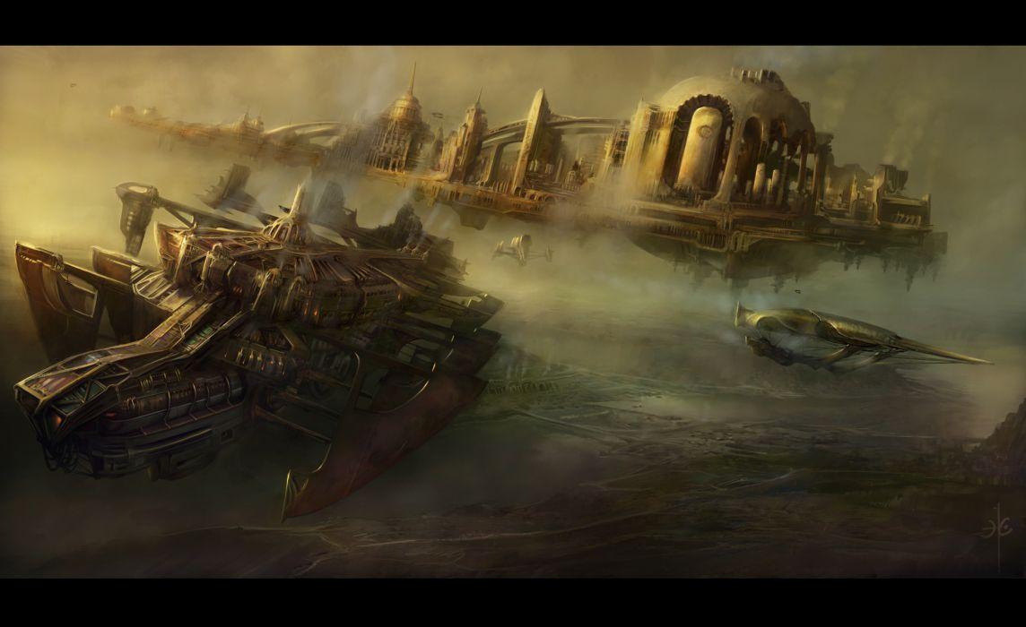 steampunk mechanical ships aircrafts airplane flight cities wallpaper