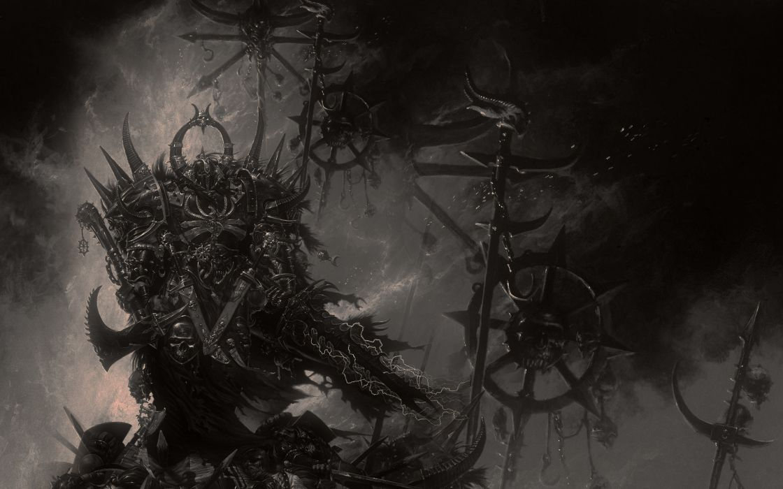 video games Warhammer monochrome artwork wallpaper