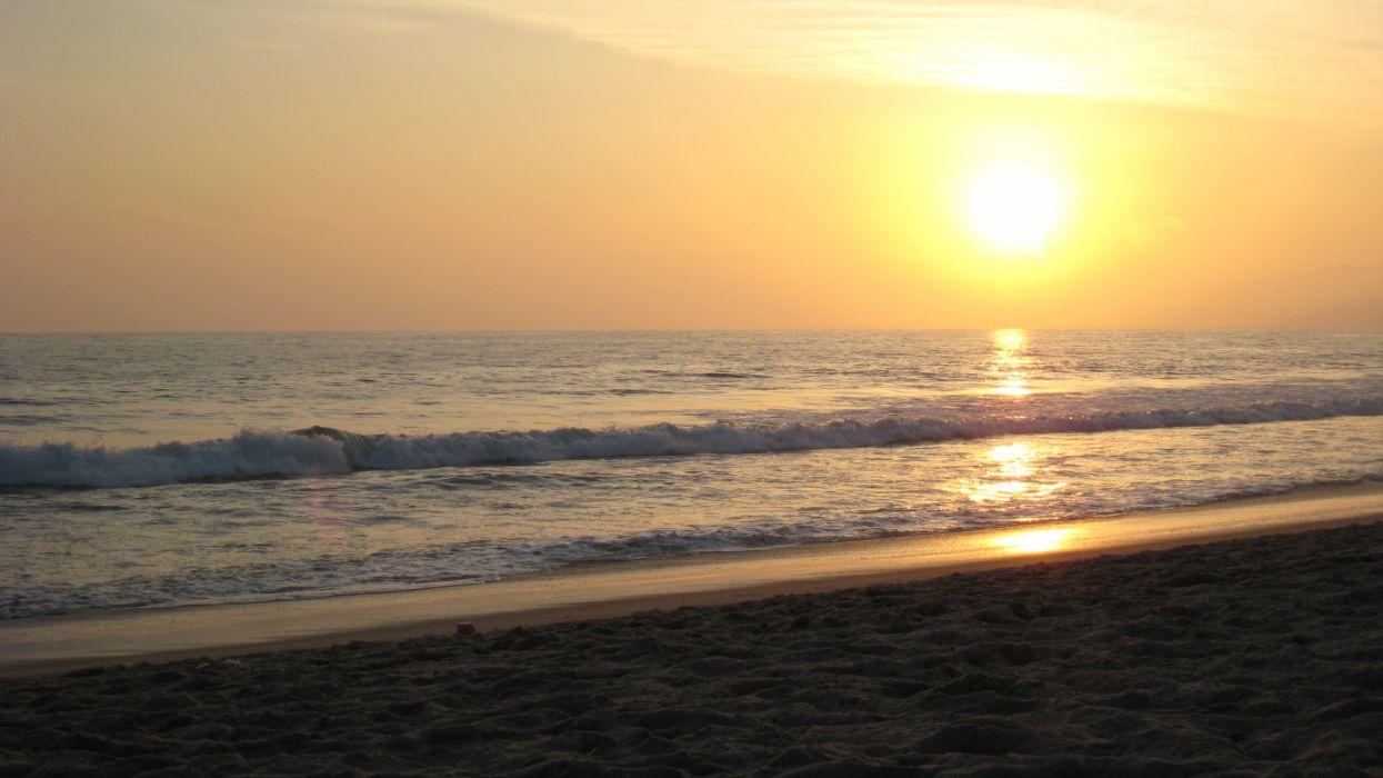 sunset landscapes nature beach sea wallpaper