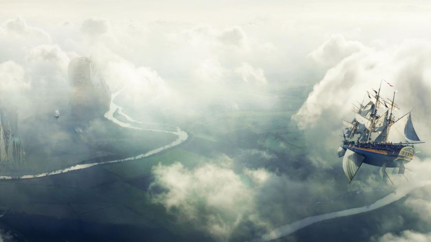steampunk mechanical ships aircrafts airplane flight landscapes sky clouds wallpaper