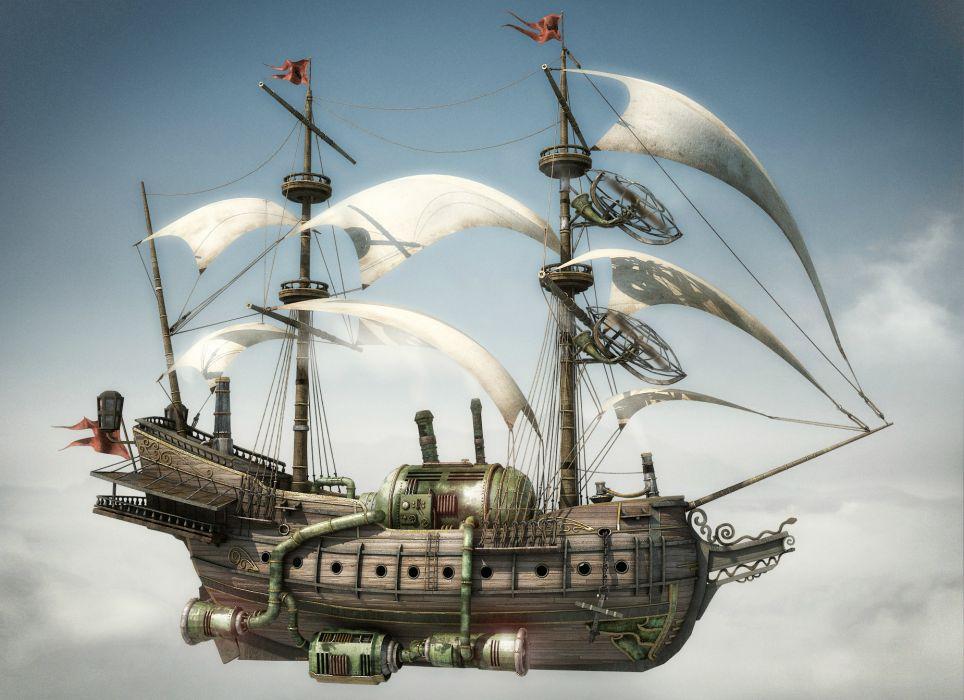 steampunk mechanical ships aircrafts airplane flight sky clouds      r wallpaper
