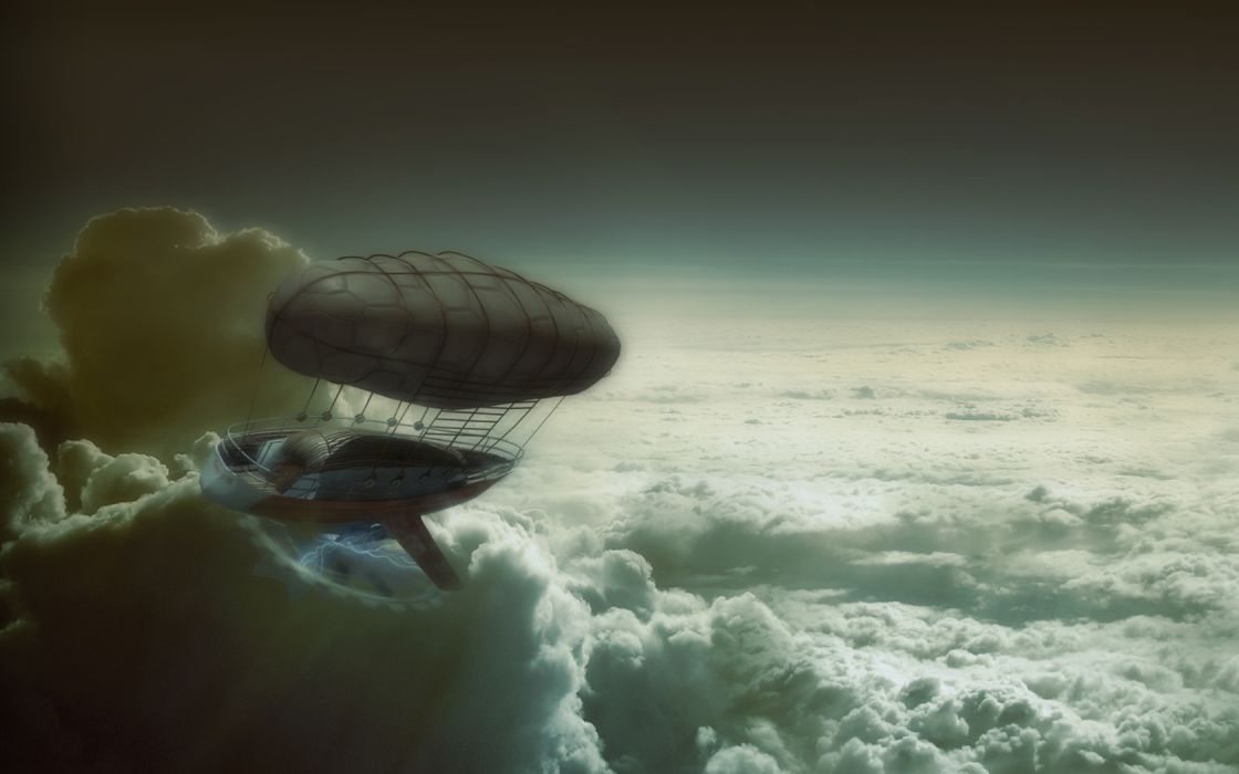 steampunk mechanical ships aircrafts airplane flight sky clouds wallpaper