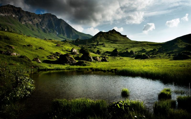 water mountains summer France ponds lakes wallpaper