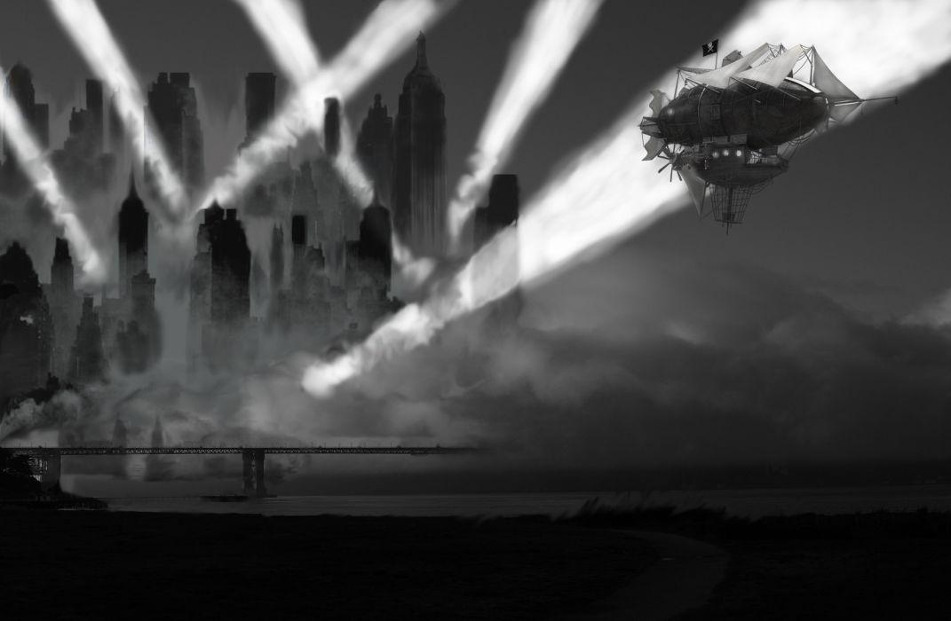 steampunk mechanical ships boats cities flight dark fantasy wallpaper