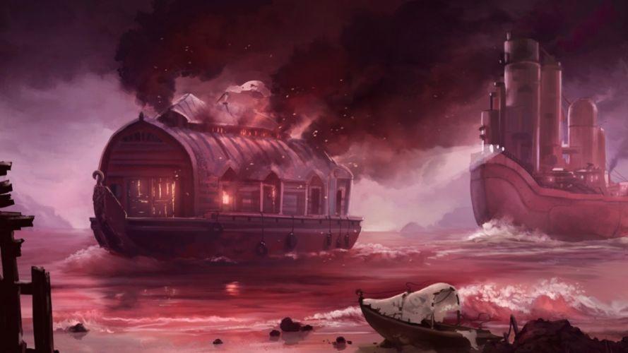 steampunk mechanical ships boats fantasy wallpaper