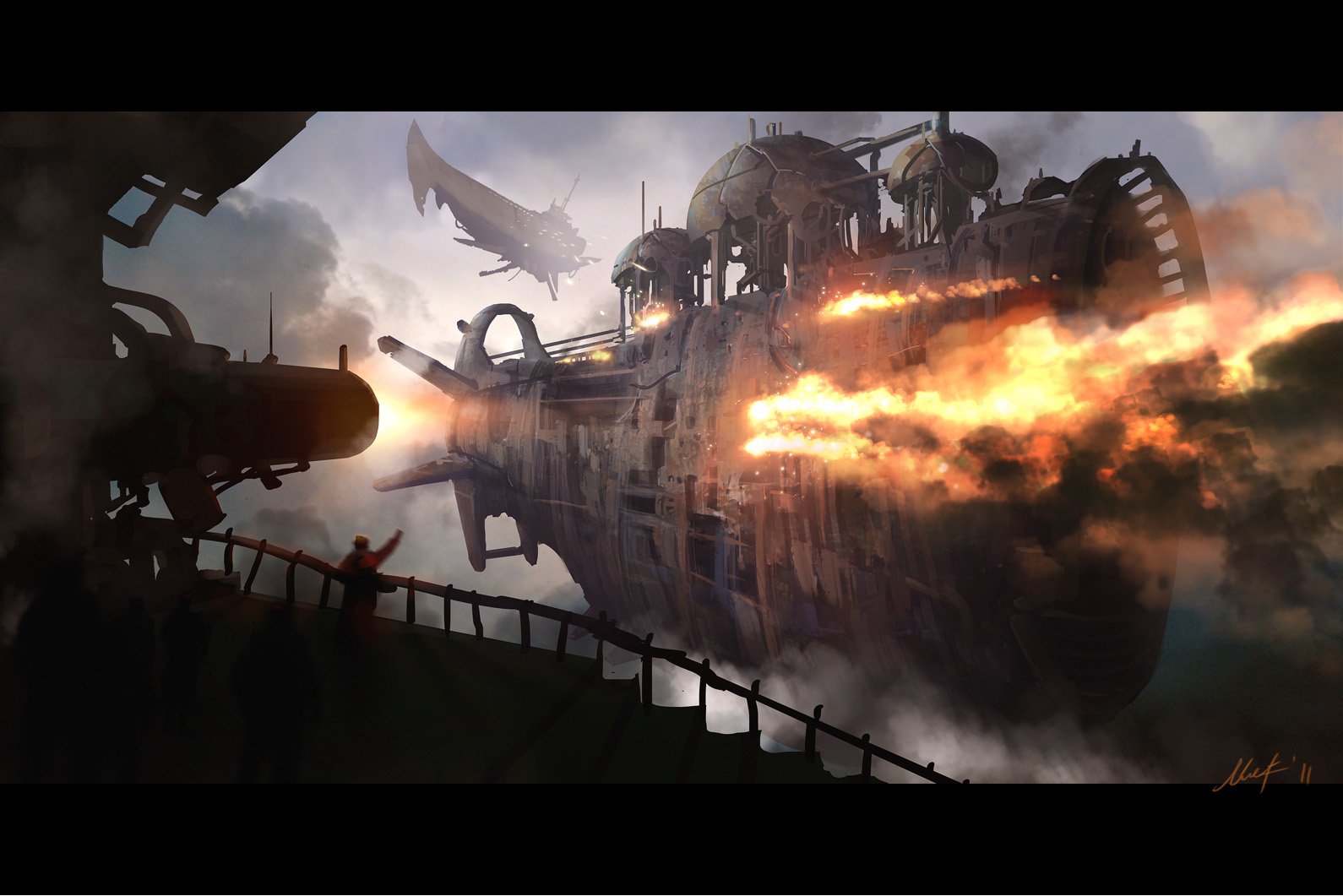 Steampunk mechanical ships boats weapons guns battle ...
