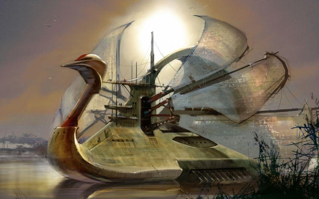 steampunk mechanical ships boats wallpaper
