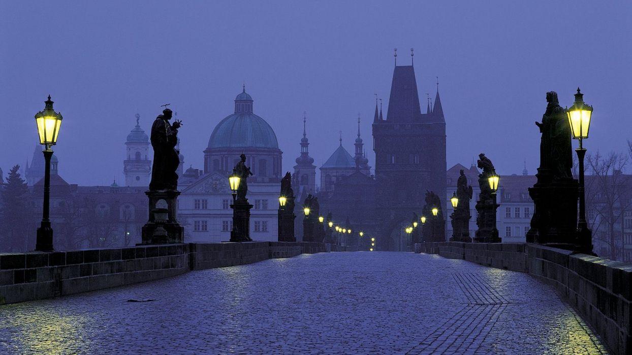 Prague Czech Republic dusk Charles Bridge wallpaper