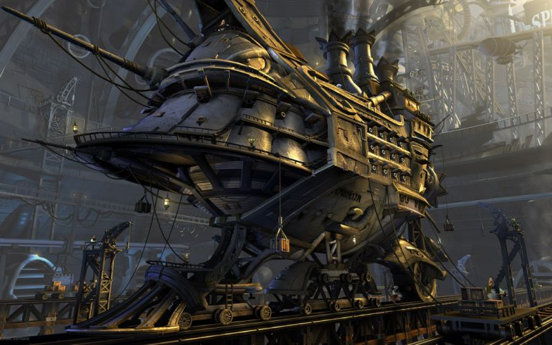 steampunk mechanical trains f wallpaper