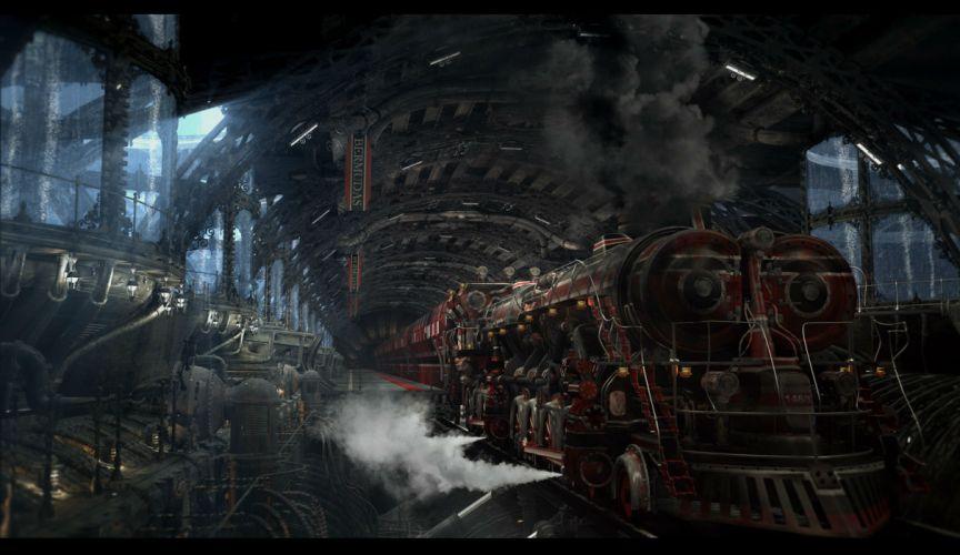 steampunk mechanical trains t wallpaper