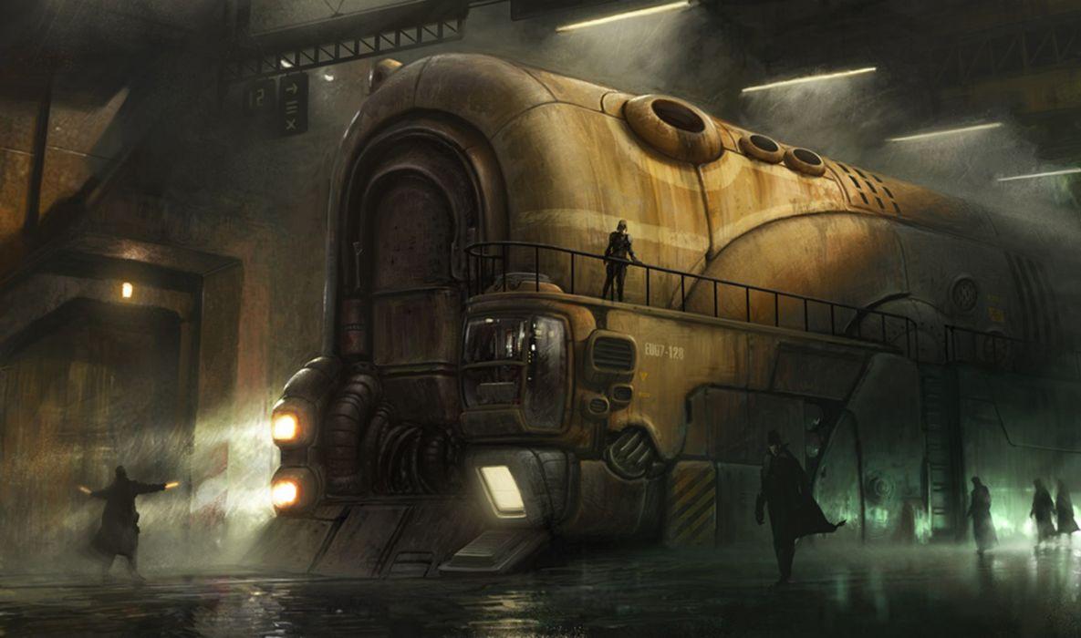 steampunk mechanical trains wallpaper