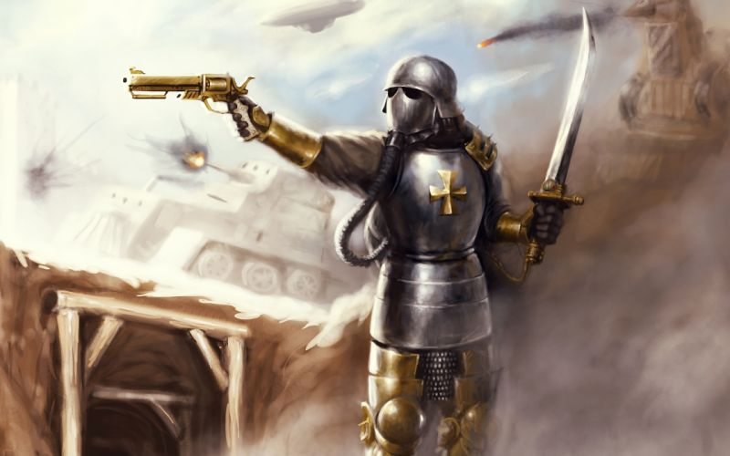 steampunk mechanical warrior knight armor weapons guns pistols swords tanks battles war wallpaper