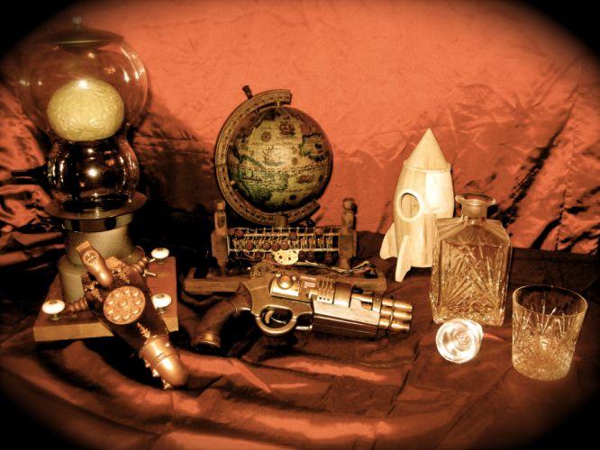 steampunk mechanical weapons guns c wallpaper