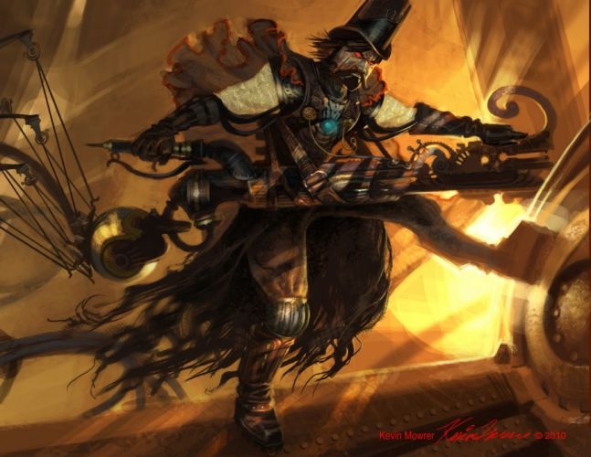 steampunk mechanical weapons guns f wallpaper