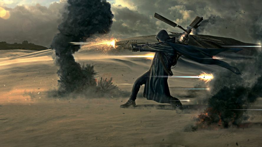 steampunk mechanical weapons guns battle warriors wallpaper