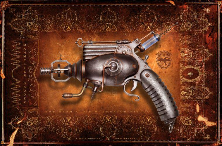 steampunk mechanical weapons guns pistol wallpaper