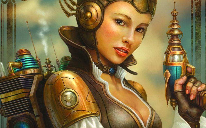 steampunk mechanical women females girls face eyes babes weapons guns pistols wallpaper