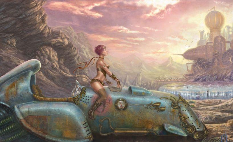 steampunk mechanical women females girls wallpaper