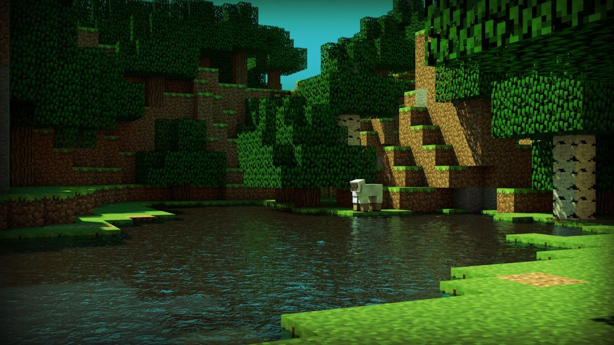 water trees sheep Minecraft skyscapes cinema 4d terrain tapeta renders wallpaper