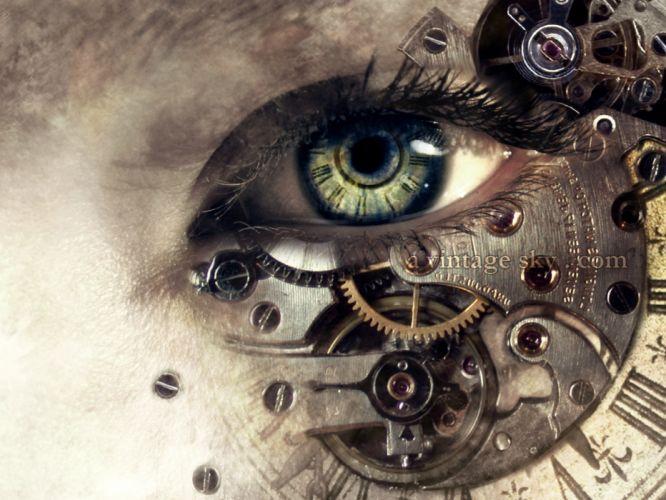 steampunk cyborg eyes gear cogs wallpaper