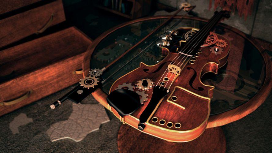 Violin Steampunk music gears wallpaper
