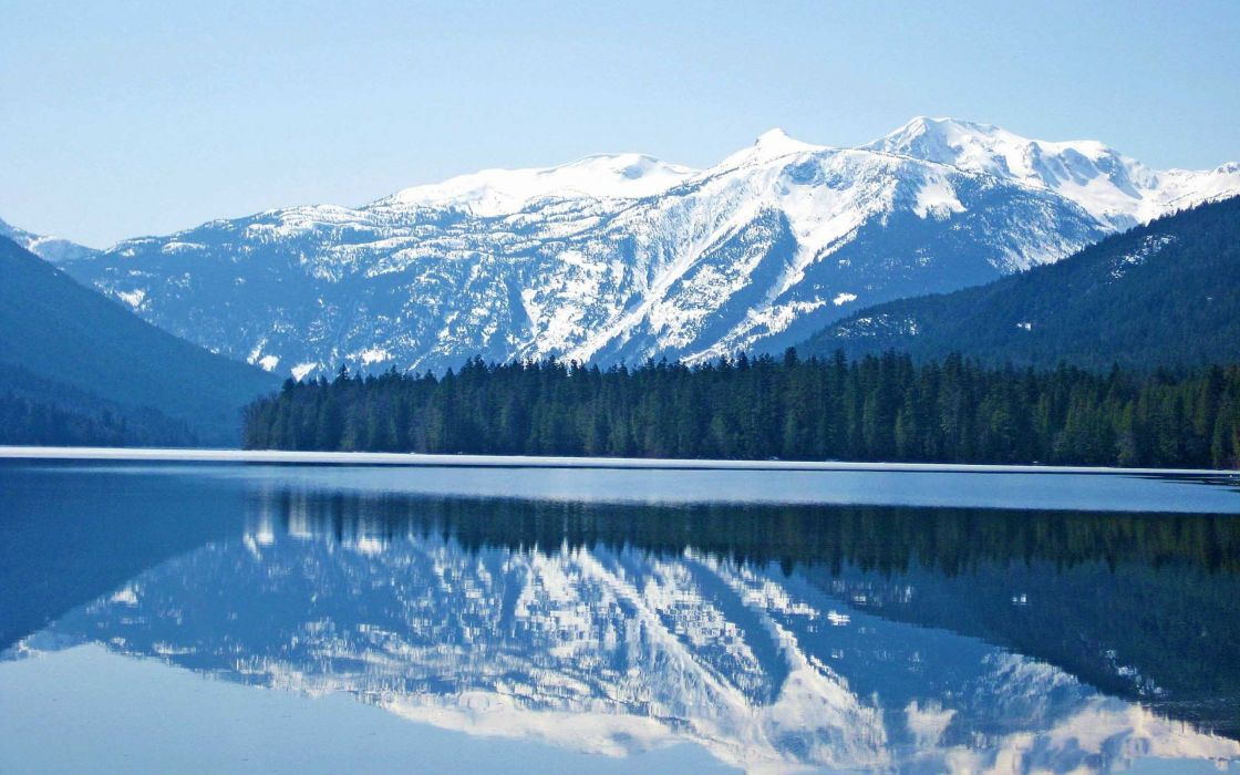 mountains landscapes nature trees lakes reflections wallpaper