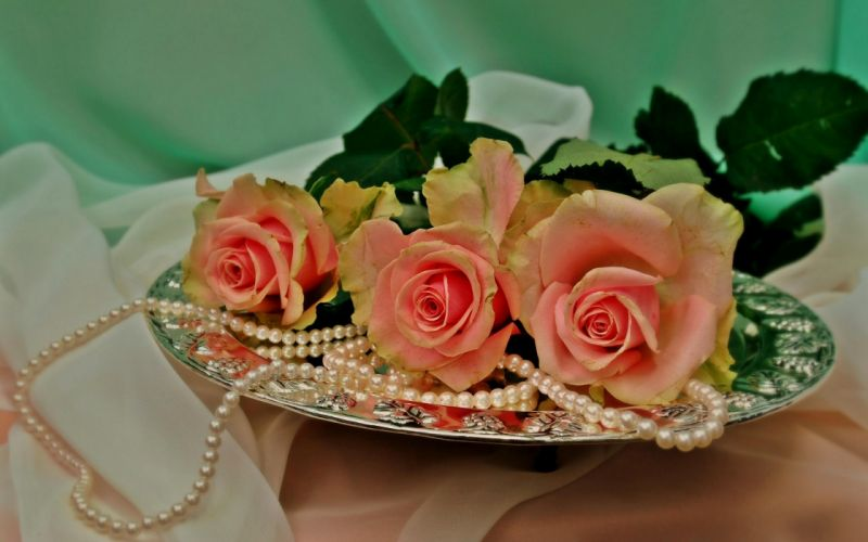 pearls bouquet roses weddings wallpaper