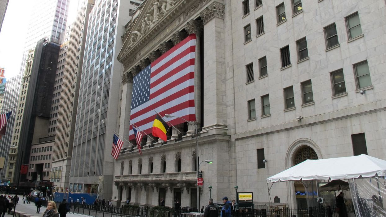 cityscapes USA New York City Manhattan skyscrapers Wall Street American Flag stock exchange New York Stock Exchange Belgian flag wallpaper