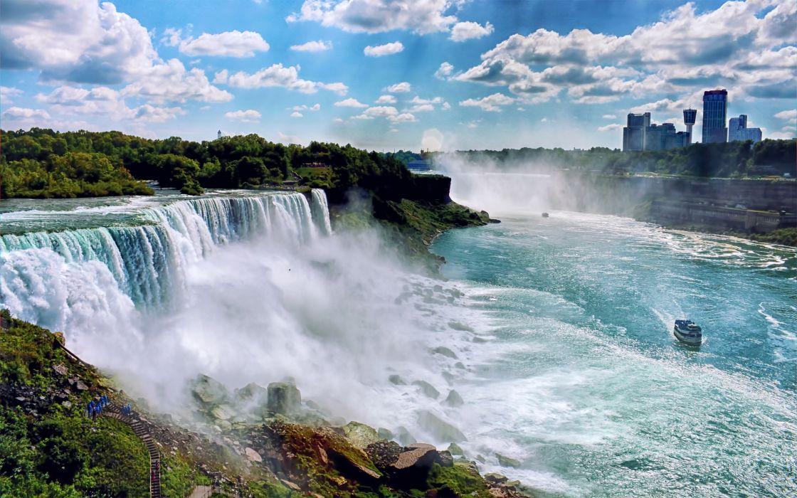Landscapes Nature Usa New York City Niagara Falls Waterfalls