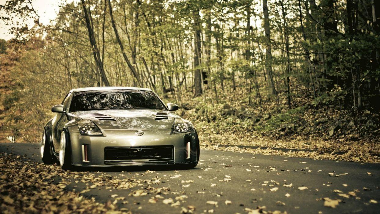 trees cars leaves roads vehicles Nissan 350Z wallpaper
