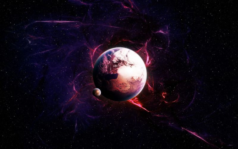 outer space stars planets radiation wallpaper