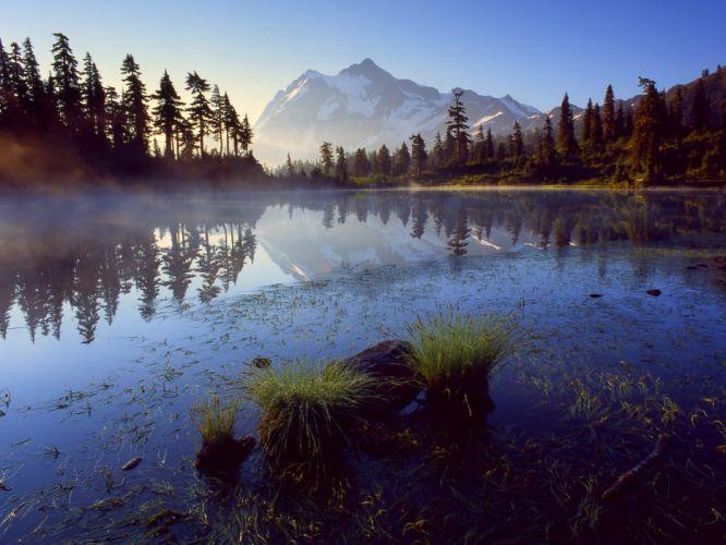 mountains landscapes trees mist lakes wallpaper