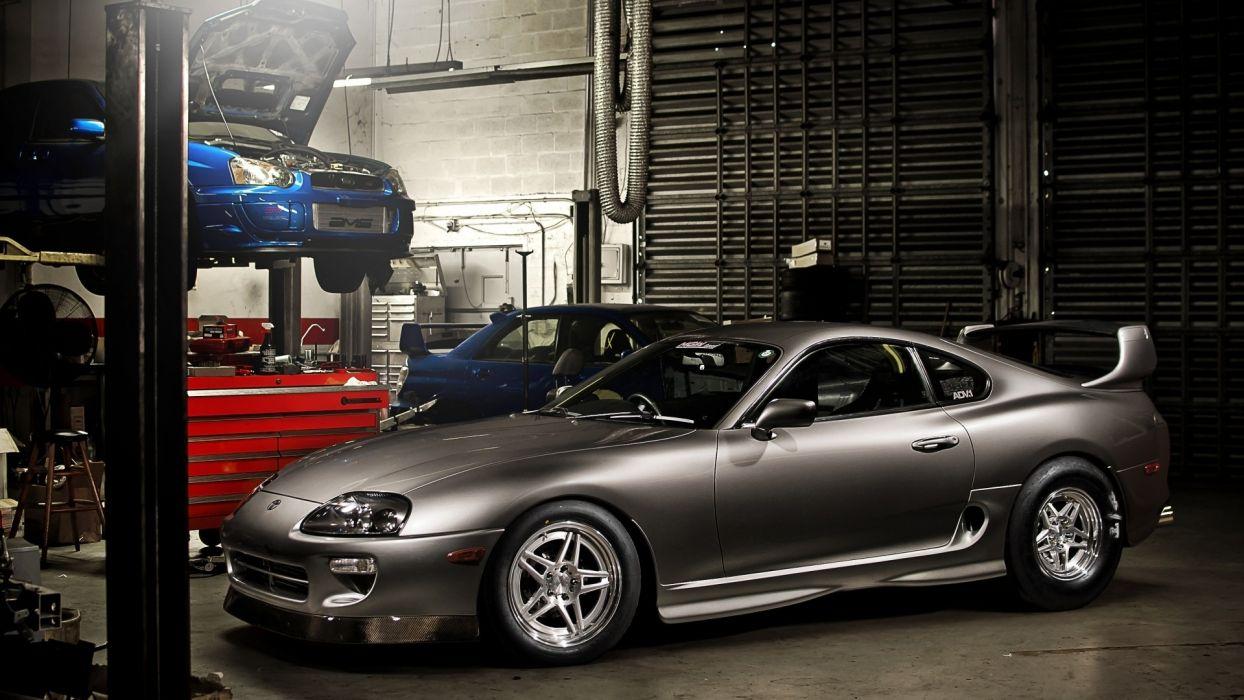 cars garages Toyota Supra Subaru Impreza WRX STI adv1 wheels wallpaper