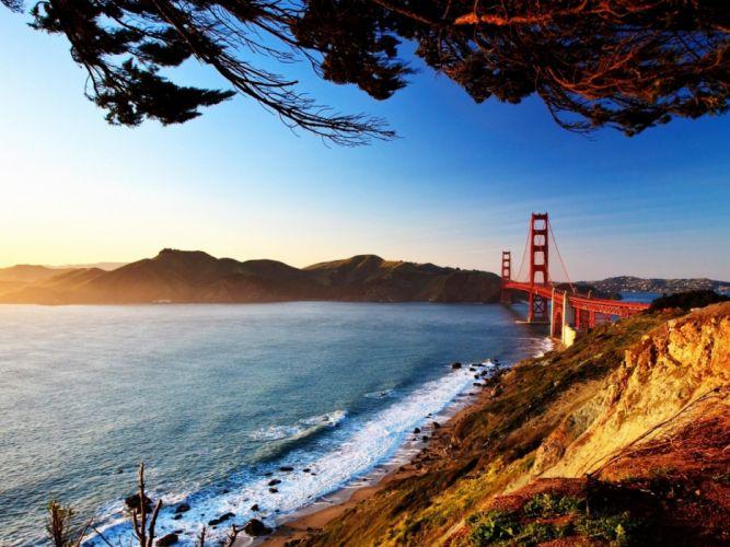 water landscapes nature Sun bridges Golden Gate Bridge San Francisco wallpaper