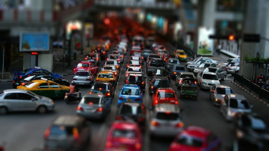 cityscapes streets cars tilt-shift wallpaper