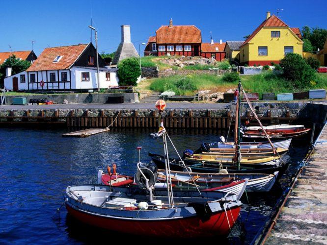 houses boats Denmark Bornholm wallpaper