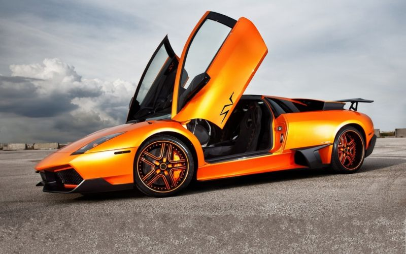 cars Lamborghini Murcielago orange cars wallpaper