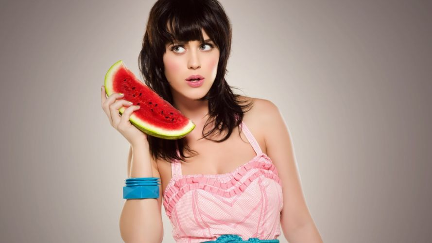 brunettes women Katy Perry funny celebrity gray eyes wallpaper