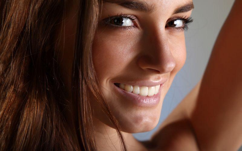 brunettes women smiling faces Milana F wallpaper