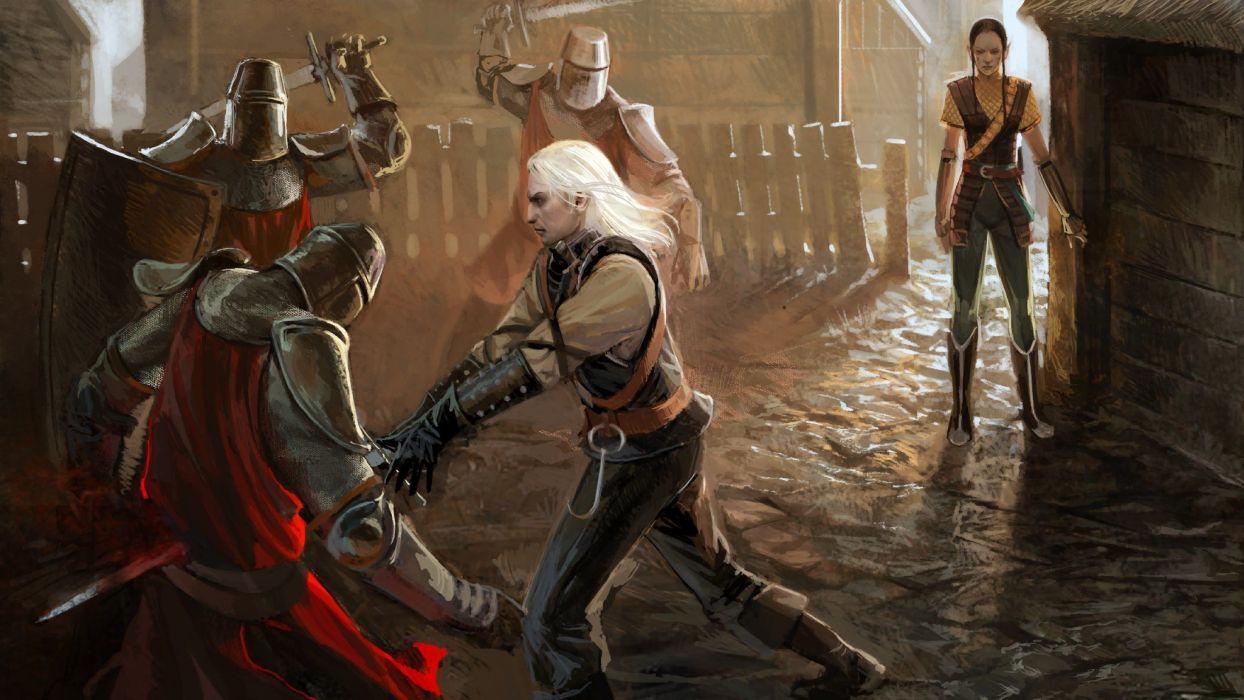 video games RPG The Witcher fantasy art artbook artwork Geralt of Rivia The Witcher 2 Geralt swords The Witcher 2 Enhanced Edition anjey sapkovsky pc games wallpaper