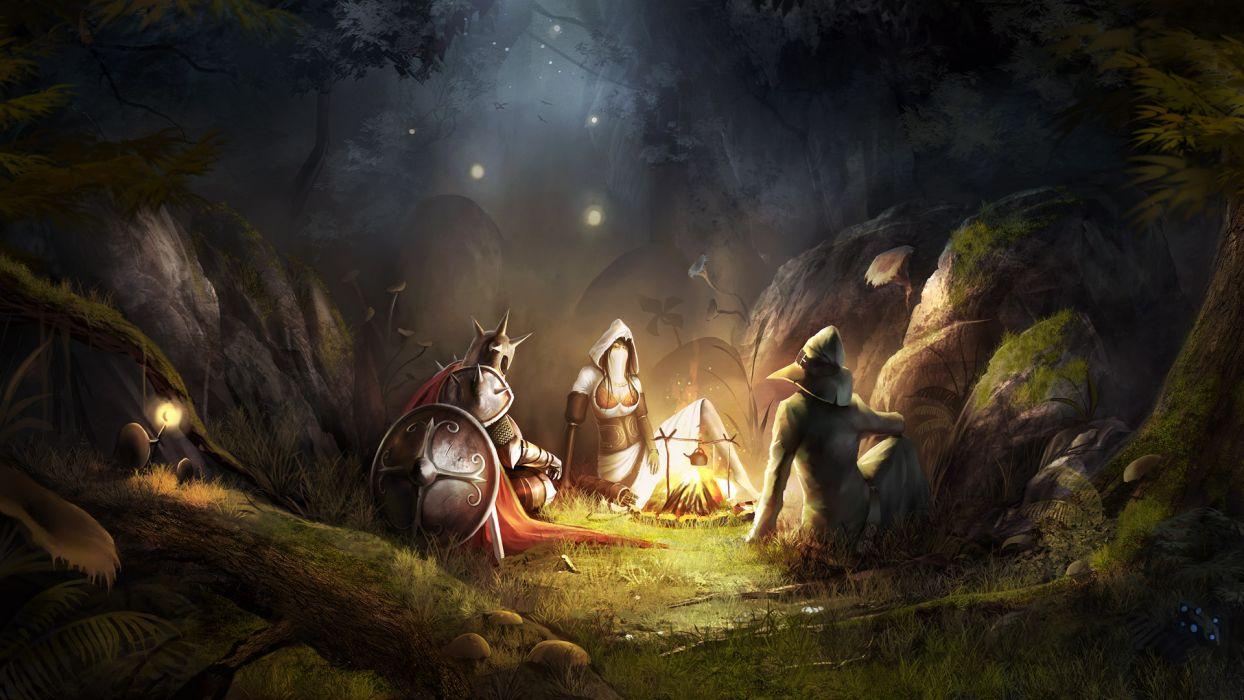 fantasy video games forest fire armor trine artwork warriors