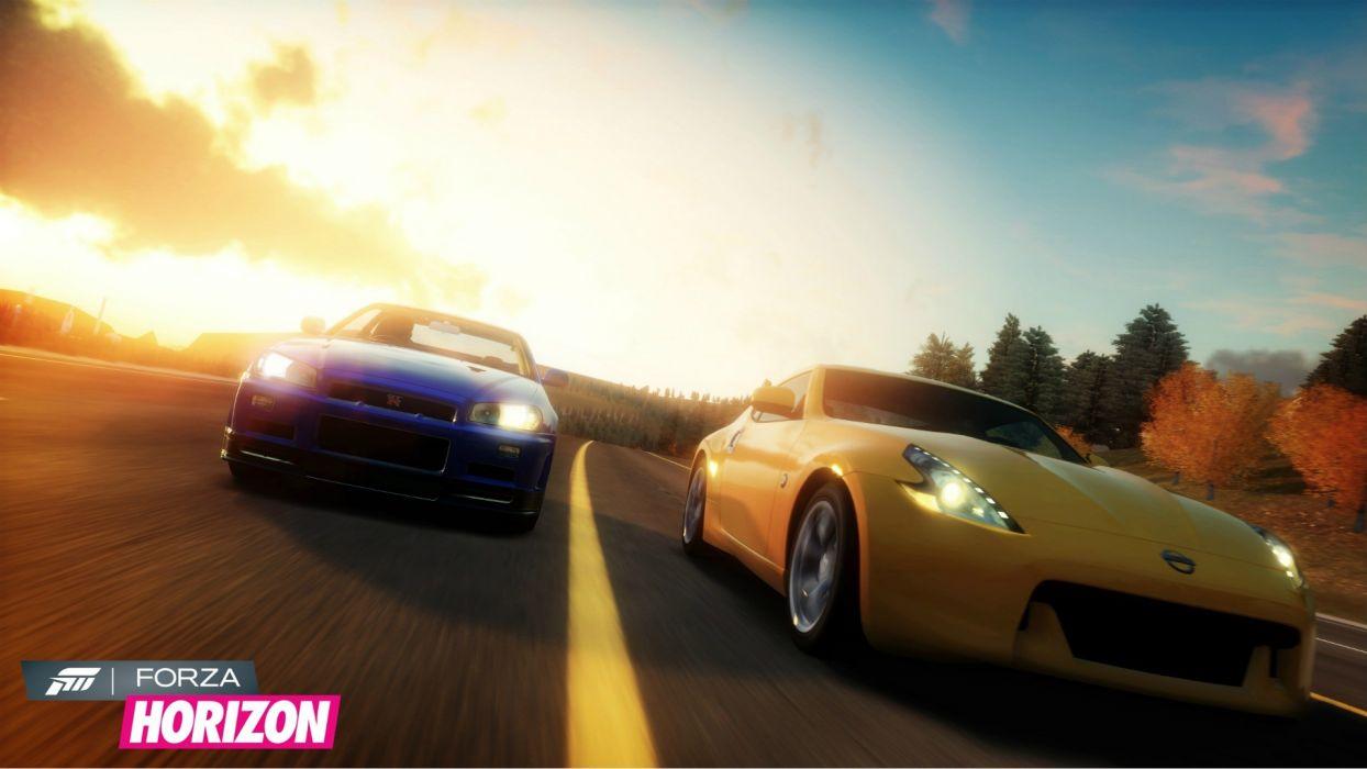 video games cars Xbox 360 Nissan 370Z Nissan Skyline R34 GT-R Forza Horizon wallpaper