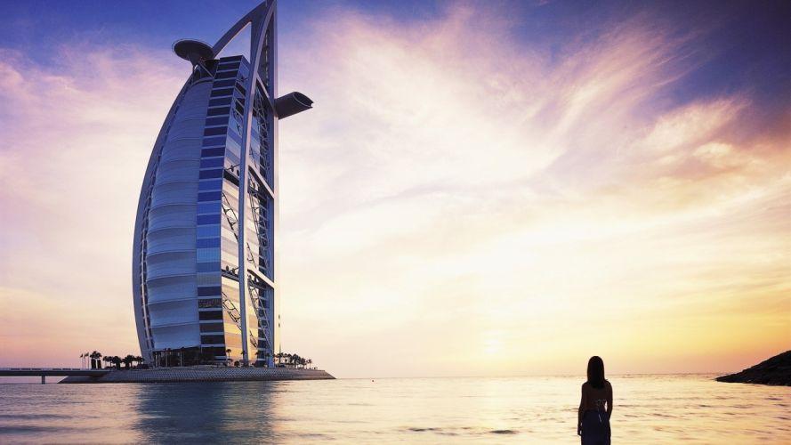 women water coast architecture buildings Dubai skyscapes Burj Al Arab sea wallpaper