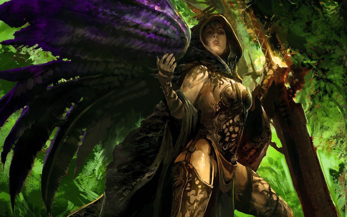 wings fantasy art artwork swords wallpaper