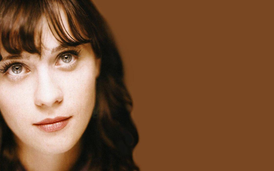 women close-up eyes Zooey Deschanel faces wallpaper