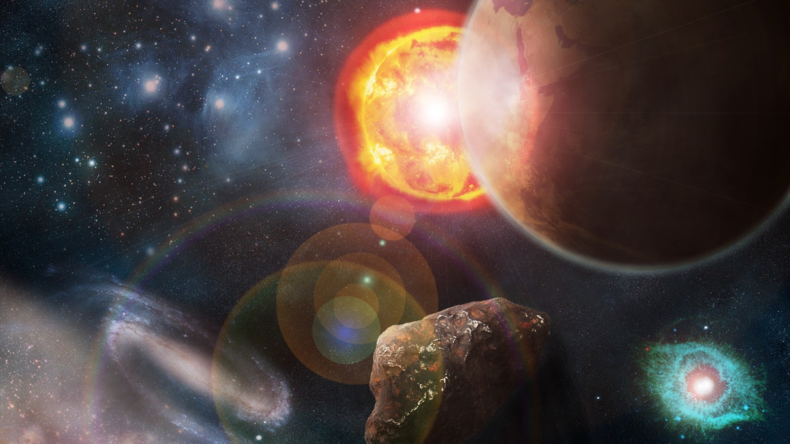 Sun outer space stars futuristic galaxies planets - Space wallpaper 1600x900 ...