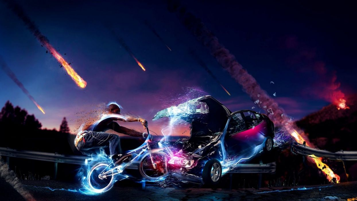 multicolor cars bicycles wallpaper