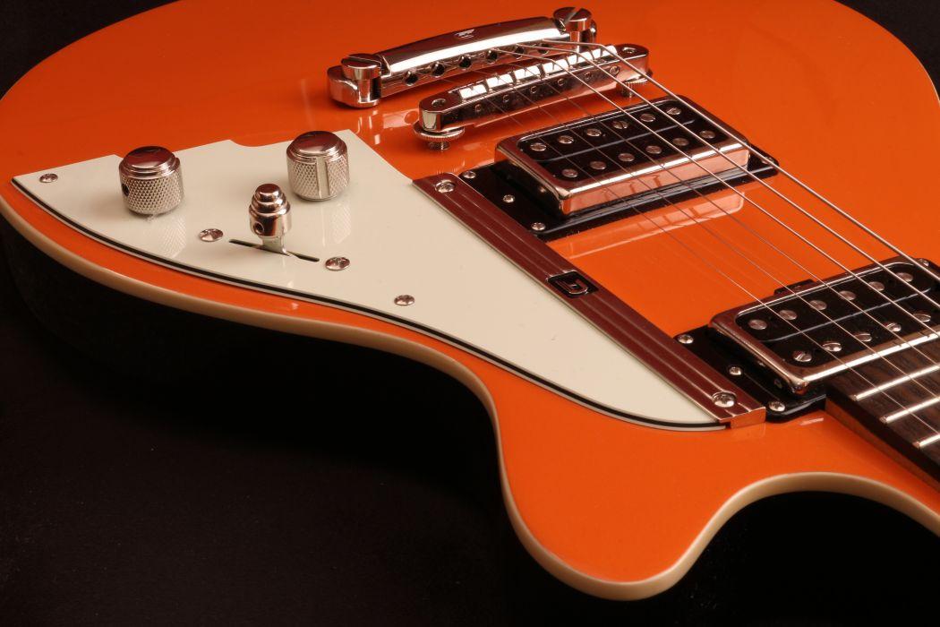 close-up music orange guitars chrome electric guitars Duesenberg starplayer special wallpaper