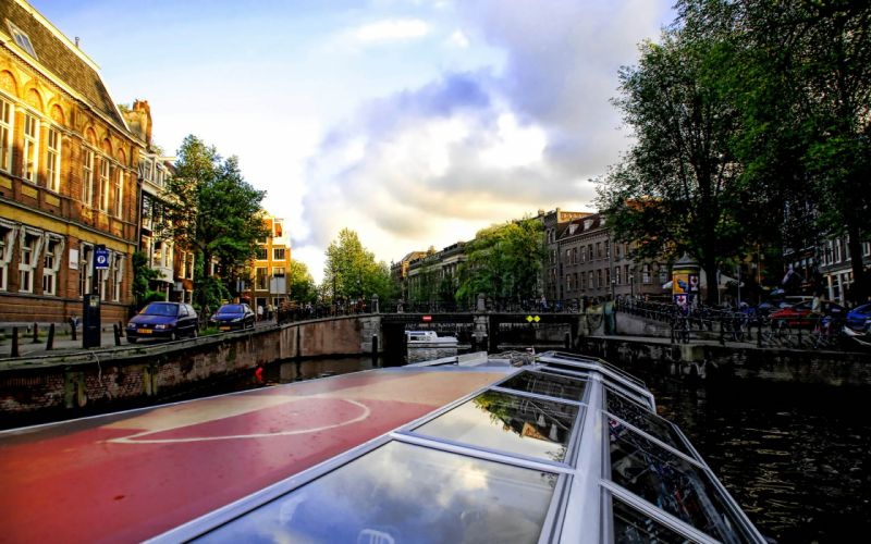trees cityscapes cars bridges buildings Europe Holland vehicles rivers wallpaper